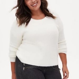 Torrid Ivory Fuzzy Yarn Sweater 1X